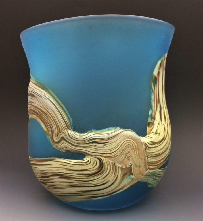 Aqua Root Vase, 9.75″ tall x 8×6″ $400 code 15-251