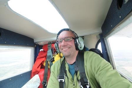 Louis Helbig flying over Alberta