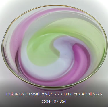Picture of glass bowl with product information on it.