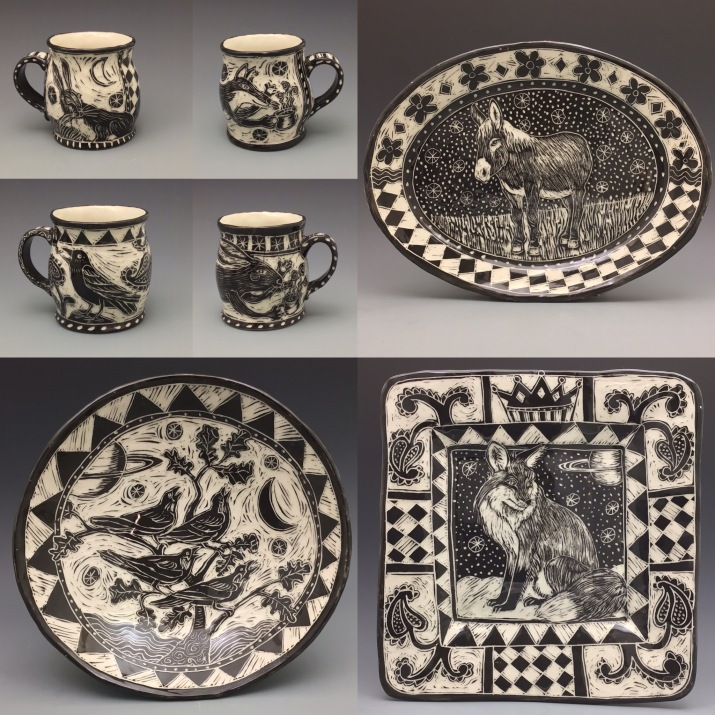 Pottery by Chandler Swain in black and white